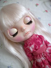 Precious Floss~ (simplychictiques) Tags: blythe ooakblythedoll customblythedoll shabbychic jodiedollscustom grumpy pout adorable pastels vintagedolldress frecklesandpout airbrushfaceup floss