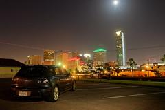 OKC (BenWestPhotography) Tags: city moon oklahoma car skyline night canon raw 1750 dxo okc mazda tamron oklahomacity mazdaspeed3 tamron1750f28 40d tamronspaf1750mmf28xrdiiildasphericalif canon40d devontower opticspro10
