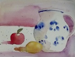 BLUE AND WHITE PITCHER WITH FRUIT (BonnieBuchananKingry) Tags: paintings watercolorpainting blueandwhitepitcher apple lemon fruit shadows