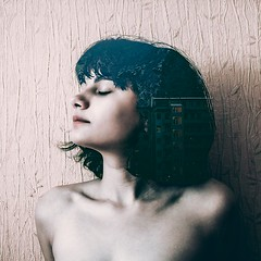 please calm down (bikutori) Tags: canon canon500d 500d sigma30mm sigma 30mm 14 f14 2016 russia girl nice naked nude beautiful black blackhair calmness calm thinking thoughts woman female double exposition multiexposition portrait selfie selfportrait self closed eyes short hair