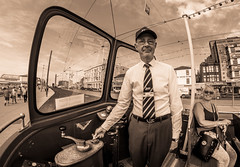 Roy the Blackpool transport tram driver. (CWhatPhotos) Tags: blue sky skies skys clear day blackpool lancs lancashire north sand beach sun light photographs photograph pics pictures pic picture image images foto fotos photography artistic cwhatphotos that have which with contain olympus omd em10 mk ii esystem four thirds digital camera lens olympusem10mkii sanyang 75mm 35 f35 fisheye fish eye samyang manual focus wide view 43 fit mft micro promenade transport tram driver open top air roy passanger