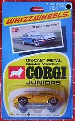 JAGUAR 'E' type series 2 (streamer020nl) Tags: 1970 corgi junior juniors mettoy greatbritain gb diecast metal toys jouets models speelgoed auto car collector card whizzwheels jaguar etype yellow 33