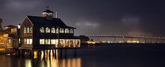 Purple Night (Manuela Durson) Tags: sandiego piercafe boathouse california southerncalifornia coronadobridge nightphotography night ocean pacificocean coast coastal seaportvillage citylights tranquil serene water