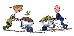 farmer-with-wheelbarrow-meets-banker-with-money-wheelbarrow-illustration-by-frits-ahlefeldt (Frits Ahlefeldt, Hiking.org) Tags: wheelbarrow sprout growth farming farmer investment investor money rich profit businesss
