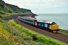 37403 'Isle of Mull' at Parton (Alexander Cromarty) Tags: 37403isleofmull 2c49barrowtocarlisle parton cumbriancoastline cumbria irishsea northwestengland class37 class374 largelogo srps drs directrailservices locohauled englishelectric
