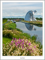 Kelpies Summer Morning (flatfoot471) Tags: 2015 boats canal falkirk forthandclydecanal forthvalley normal scotland sculpture stirlingshire summer thekelpies unitedkingdom stirlinghshire