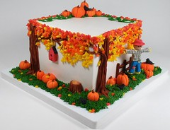 Autumn Scene (Edible Delights) Tags: autumn cake cute birdhouse bird crow orange yellow red trees fondant gumpaste pumpkins leaves fence fall scene halloween