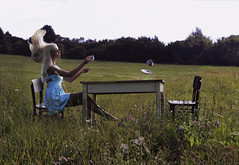 Secret tea party (misa.stahlova) Tags: 365 365project tea party outdoor model girl portrait conceptual surreal imaginative imagination dress blue meadow floating cup blondhair table chairs trees wonderland fineart 50mm canon