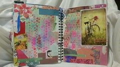 Mixed media journal spread with bubble wrap stamping technique (a personal fave). #mixedmedia #artjournal (JavaJunkieKrista) Tags: artjournal mixedmedia