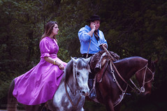 The princess and the gaucho on the phone (Fer-B.) Tags: gaucho foliage dress typical hat backride country phone uruguay cell cellular mobile events princess puntadeleste horse vacaciones field outdoor nikon d90