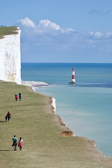 Looking back to the Lighthouse (Stephen_Hartley) Tags: eastsussex eastbourne beachyhead lighthouse sea seascape southdownsnationalpark southdownsway walkers hikers chalkcliffs englishchannel coast south england whitecliffs