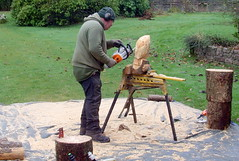 Chainsaw art making (Tony Worrall) Tags: show county xmas uk england art festive stream tour open place country north lakes chainsaw visit location event cumbria area northern update cumberland owls attraction muncaster muncastercastle 2014tonyworrall welovethenorth