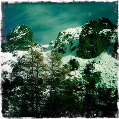 La cougourde. (azurblue) Tags: winter snow alps montagne alpes square hiver paca neige 06 mercantour iphone alpesmaritimes coucourde hipstamatic