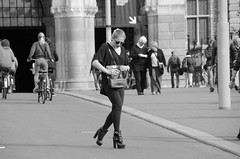 shoe (105mm) Tags: street city girls portrait people woman sexy girl amsterdam bike happy women pretty legs candid streetphotography streetportrait streetlife skirt blond streetwear streetportraits streetstyle