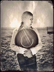 Celphonotype portrait by Coy Townson (Coy Townson) Tags: california ranch portrait bw horse girl hat photo cowboy farm fineart cellphone western tintype wetplate cowgirl bnw buckaroo iphone blackandwhtie mobileart hipstamatic celphonotype