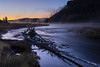 Sunrise over the Madison River (John Cothron) Tags: longexposure travel autumn mist fall nature water digital creek river landscape stream outdoor scenic naturallight sunny driftwood yellowstonenationalpark flowing clearsky freshwater madisonriver 35mmformat johncothron canoneos5dmkii leefiltersystem cothronphotography 3stopsoftedgegraduatedneutraldensityfilter zeissdistagont352ze lee90gs img03637110920 sunriseoverthemadisonriver