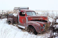 1940s Ford Truck (MelodyJoy173) Tags: old red snow ford abandoned field truck rust antique 1940s vehicle sk saskatchewan