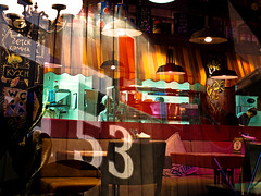 Cafe lights (Serivanov22) Tags: red people color reflection art glass colors lines sign yellow wow lights see cafe bright russia weekend moscow yes interior great entrance atmosphere olympus numbers inside lamps lifeinthecity marcellis sigma30mmf28 olympusomdem10