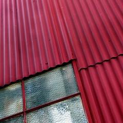 (msdonnalee) Tags: red rot window rouge ventana rojo fenster vermelho janela minimalism minimalismo rosso minimalist  rd lessismore punainen minimalisme abstractreality minimalismus   corrugatedsiding    mininalisme