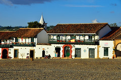 Villa de Leyva (Gedsman) Tags: christmas blue white house mountain green church southamerica nature beautiful beauty architecture america tile square landscape town colombia village view cathedral terracotta traditional colonial culture cobblestone spanish villa tradition cultural villadeleyva