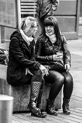 Expressions of Cork (The world as eye see it. over 2 million views.) Tags: life lighting street city ireland girls light shadow portrait people urban blackandwhite bw white black detail male eye texture monochrome face photography mono glasses living blackwhite focus sitting republic shadows natural legs boots humanity bokeh outdoor expression candid character cork young n streetphotography scene eire human buchanan shade portraiture contact talking chatting depth tone facial chancer bokehlicious candidstreetphotography