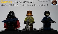 Hunter (Destiny), Marine (Halo) & Police Swat (BF Hardline) (Random_Panda) Tags: lego fig figs figures figure minifig minifigs minifigure minifigures characters character video games game