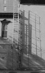 Shadows on a Building (forwardcameras) Tags: fireescape newyork caffenolc kentmere100 olympusom10