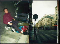 (Brandon Wilkins) Tags: street paris france film night 35mm gold skateboarding kodak flash grain streetphotography 200 vernacular boarder