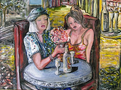 lunch ladies (jaimsart) Tags: original art painting jaims saatchi oil lunch ladies luncheon wine drunk floral muted tones buildings paving shopfronts women hat table silver yellow red blue green tree chairs eating drinking