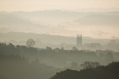 St Cuthberts Sunrise - Wells, Somerset (Explored) (RattyBoots) Tags: autumn mist sunrise landscape wells somerset canon100400l somersetlevels canon5d3