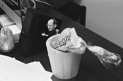 Steve Jobs lives on (guido1515) Tags: camera blackandwhite classic film apple monochrome 35mm desk head snickers range finder yashica bobble