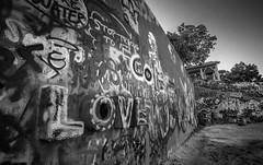 Love. (Joe Fred Images) Tags: canon1740mm 5d canon5dmarkiii canon bw spraypaint art streetart graffiti graffitipark tx atx blackandwhite texas austin