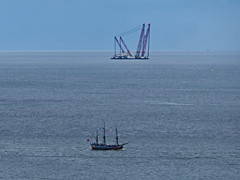 Rambiz and Endeavour. .... (Jecurb) Tags: crane endeavour whitby westcliff