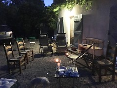 End of the soire (Dradny) Tags: blue culture table rachel waitress food dusk candles alcohol party evening france soire
