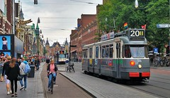 Enkeltje Touristtram (Peter ( phonepics only) Eijkman) Tags: amsterdam city museummaterieel museumstel ema gvb tram transport trams rail rails reflectionsofthepast strassenbahn streetcars nederland netherlands nederlandse noordholland holland
