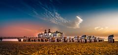 Sunrise :: Golden hour (K.H.Reichert) Tags: seebrcke steg pier himmel beach ostsee strand sellin sky sandstrand jetty sonnenaufgang balticsea mecklenburgvorpommern deutschland de strandkrbe