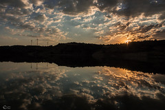 Sunset and reflection (hilmi_cskn) Tags: sunset sun sky clouds cloud color colors nature natural night landspace light lake landspaces reflection tree turkey travel trkiye turizm tourism trees olympus outdoor wind