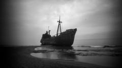 * (Timos L) Tags: seaside seashore seascape wreck ship laconia greece hellas sea waves clouds pinwide wanderlust pinhole olympus omd em5ii timosl