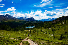 Assiniboine Ho! (Parker Vandermeer) Tags: 2016 alberta britishcolumbia canada clouds cloudy hiking lake md4 mountain nationalpark nature people rockies sky trees