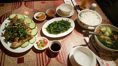 Vietnamese cuisine (Roving I) Tags: vietnamesecuisine chicken cucumber soups morningglory sauces spices chili lime boiledrice dining restaurants danang vietnam
