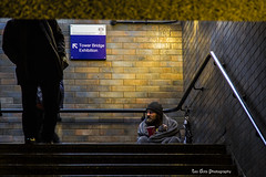 homeless (Teo Dots) Tags: street bridge man london tower yellow stairs canon walking eos alone homeless poor blanket sit 60d