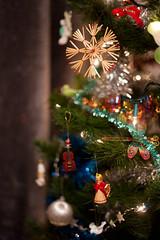 Day Three Hundred / Year Three. (evilibby) Tags: christmas decorations shiny pretty bokeh christmastree tinsel sparkly project365 christmastreedecorations