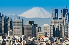 Mt. Fuji and Shinjuku (Ame Otoko) Tags: city winter snow japan skyscraper landscape tokyo shinjuku fuji mount fujisan mtfuji