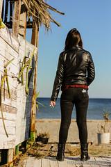 christina (Kostas Gourgiotis (Cost@s)) Tags: winter sea wild sexy girl leather scarf canon flask photoshoot cigarette christina smoke journal smoking jeans jacket lucky strike brunette bikers kostas 50mmf18ii a 60d gourgiotis