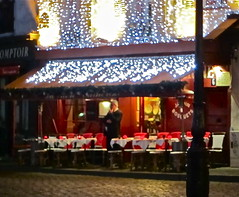 Waiting (Anna Sikorskiy) Tags: life city nightphotography winter red people urban paris france colors night reflections lights cafe europe arty artistic streetphotography montmartre