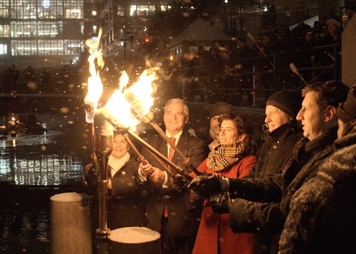 RI's New State Officers Light  WaterFire. Secretary of State Nellie Gorbea, Lt. Governor Dan Mckee, Governor Gina Raimondo, Attorney General Peter Kilmartin, and General Treasurer Seth Magaziner participate in the WaterFire Lighting Ceremony.