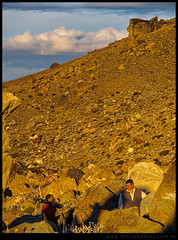Atardecer en el campo de rocas