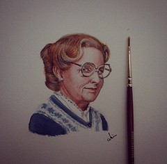 Mrs. Doubtfire (Abir Khalil.Art) Tags: cinema celebrity art watercolor painting movie artwork paint artist rip famous entertainment hollywood actor robinwilliams