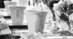 cups (Mister Hnk) Tags: blackandwhite bw stilllife table blackwhite object cups sw schwarzweiss dinge tassen schwarzweis