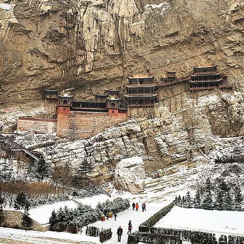 #hanging #Temple #mountain #Heng #amazing #shanxi #datong #China #winter #snow